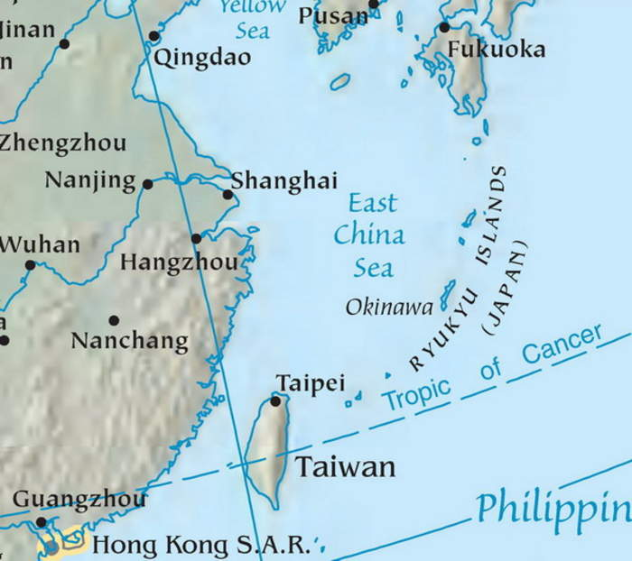 East China Sea: A marginal sea of the Pacific Ocean between the south of Korea, the south of Kyushu, Japan, the Ryukyu islands and mainland China